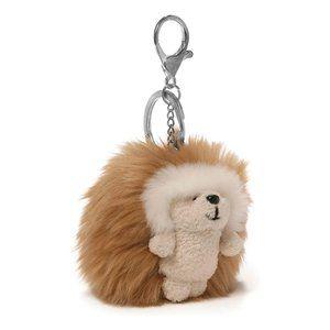 Hedgehog Soft Poof Keychain Bag Charm Light Brown